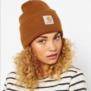 Carhartt Fold Over Camel Brown Beanie Hat Cap